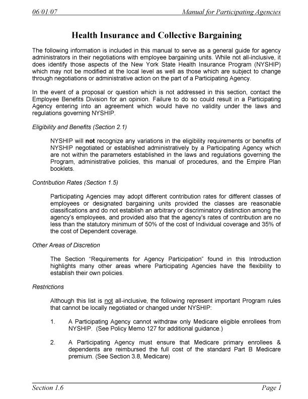 Manual For Participating Agencies